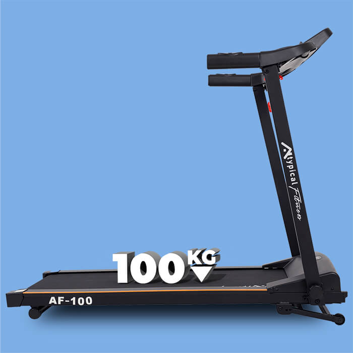 Sideview of AF-100 treadmill with 100kg text written on the running surface in 3D to show maximum user weight