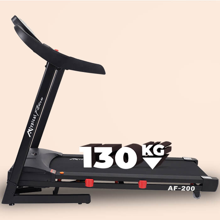 Sideview of AF-200 treadmill with 130kg text written on the running surface in 3D to show maximum user weight
