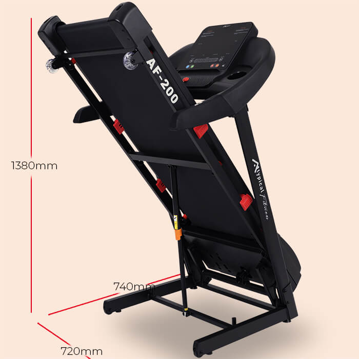 AF-200 treadmill folded up with dimension lines drawn over it 1380x740x720mm