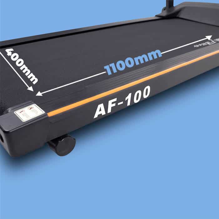 Picture showing the running surface of AF-200 treadmill with 1100mm written lengthwise and 400mm as the width