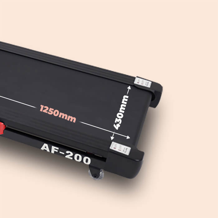 Picture showing the running surface of AF-200 treadmill with 1250mm written lengthwise and 430mm as the width